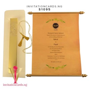 Indian Scroll Invitation S1095 now available in Nigeria at invitationsng.com