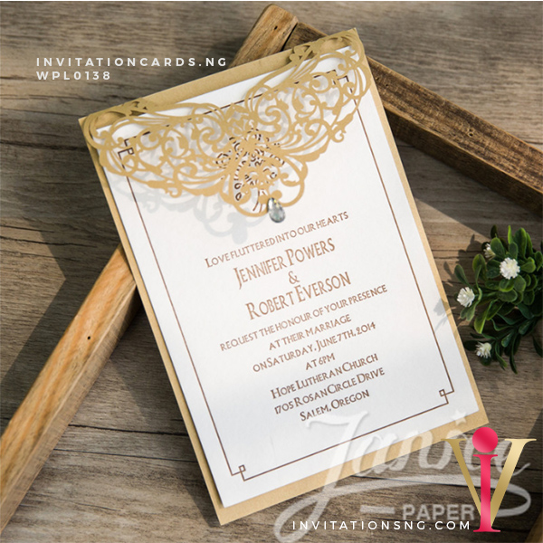 Laser Cut Invitation WPL0138 now available at invitationsng.com. Call 08173093902 or sales@invitatoinsng.com