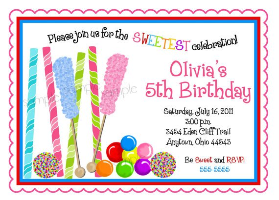 Candyland Party Invitation Wording