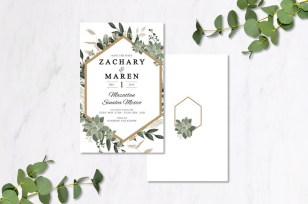 Gold Eucalyptus Invitations