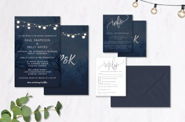 Midnight Patio Lantern Wedding Invitations