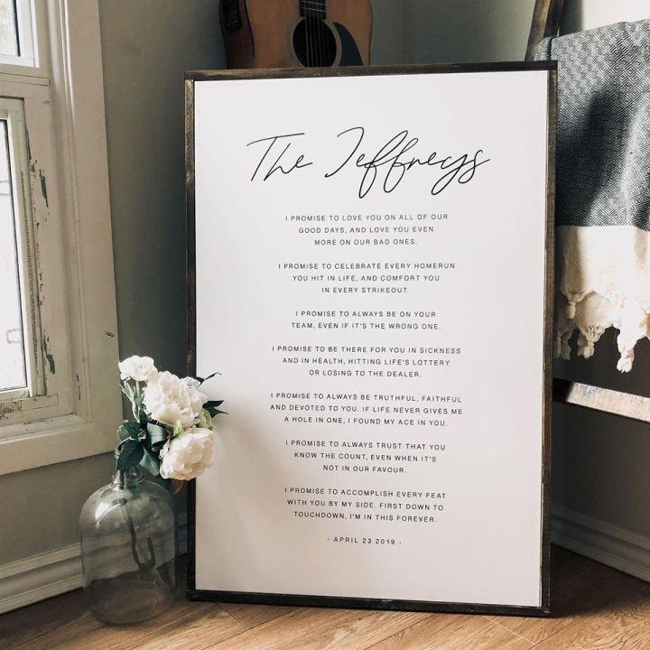 Wedding Vows Printed Canvas