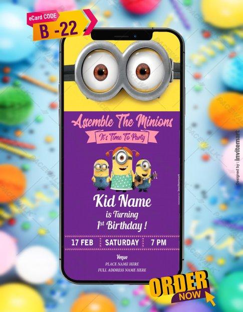 whatsapp minion birthday invitation card b 22