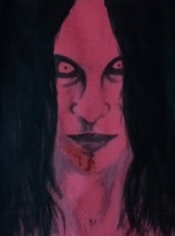 am a fan of creepy and scary stuffs so my paintings or drawings' subject are often dark and/or bloody (like this)