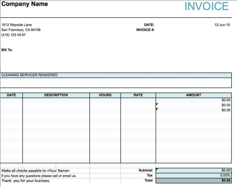 carpet cleaning invoice free