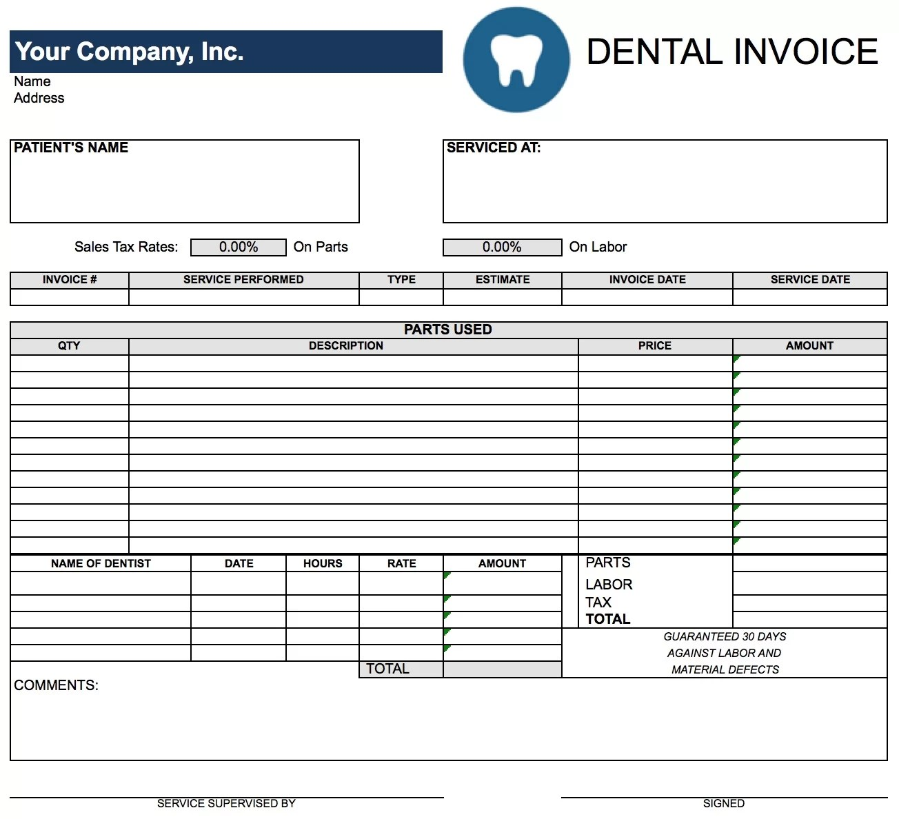 Free Dental Invoice Template