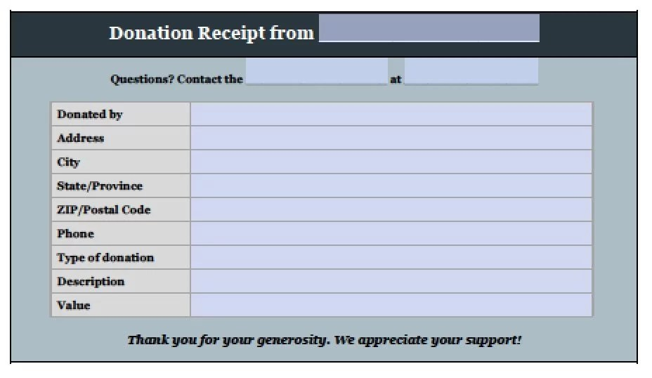 Free Donation Invoice Template Receipt Excel PDF Word Doc