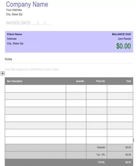 generic invoice template office word