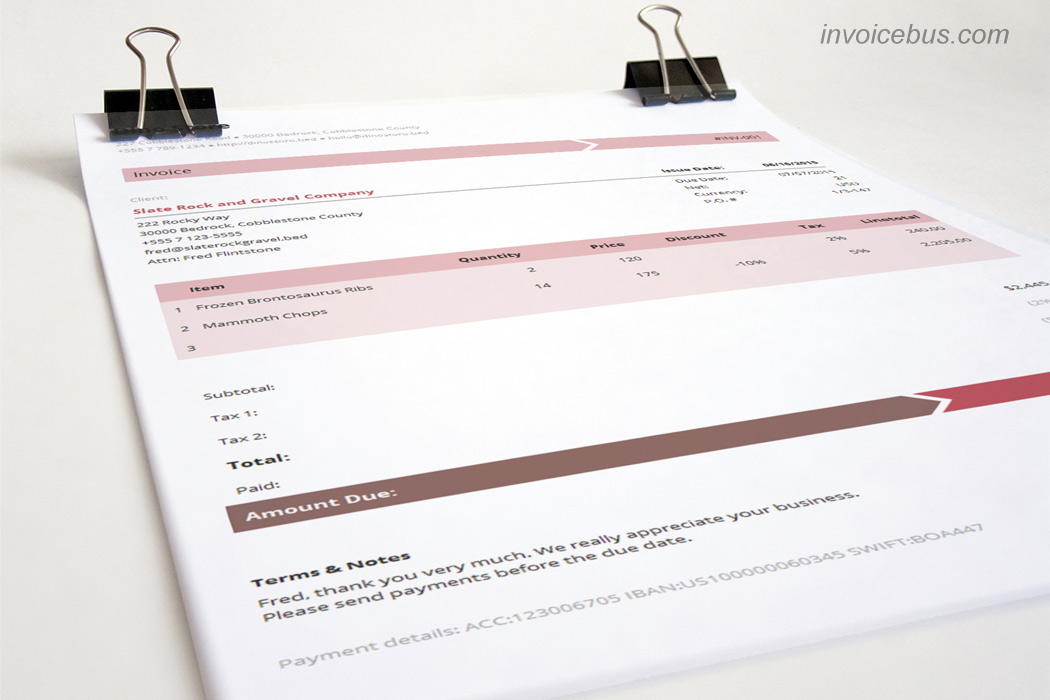 fill in invoice template