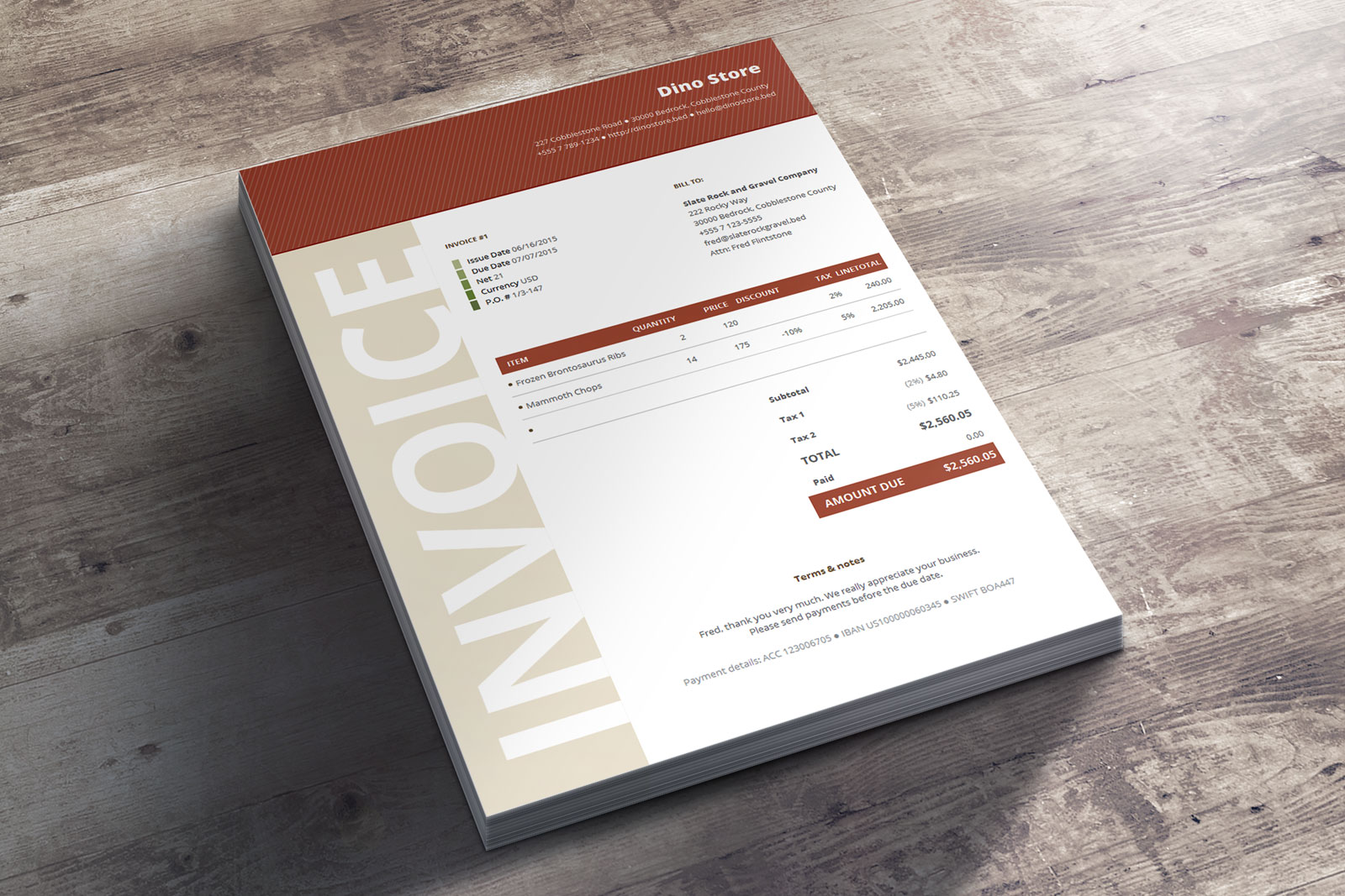 Commercial Business Invoice Niana