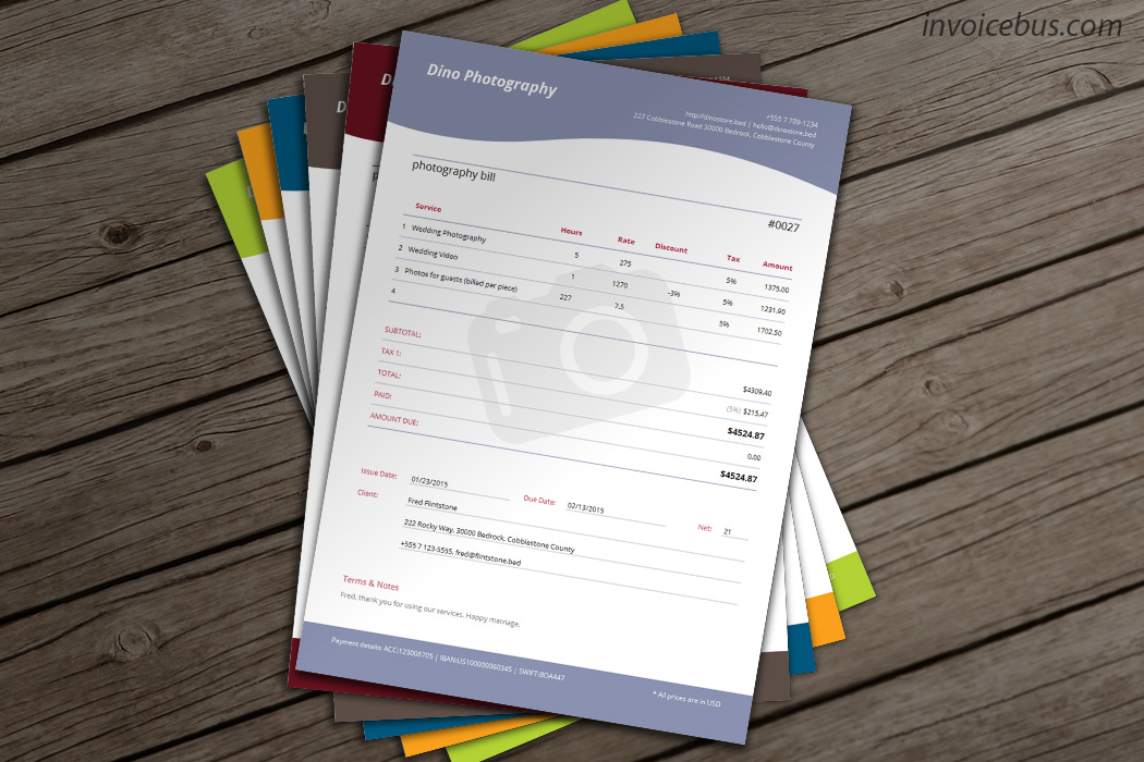 photographers invoice template