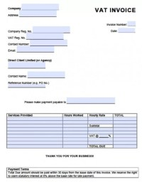 Free Value Added Tax (VAT) Invoice Template   Excel   PDF ...