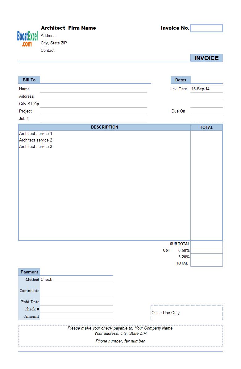 Architect Invoicing Sample