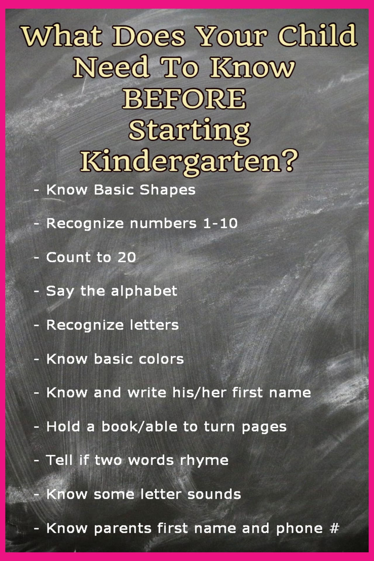 Kindergarten Readiness Checklists