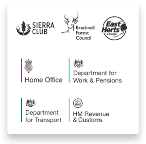 Government department and local authority customers logos