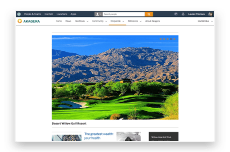 Intranet homepage layout