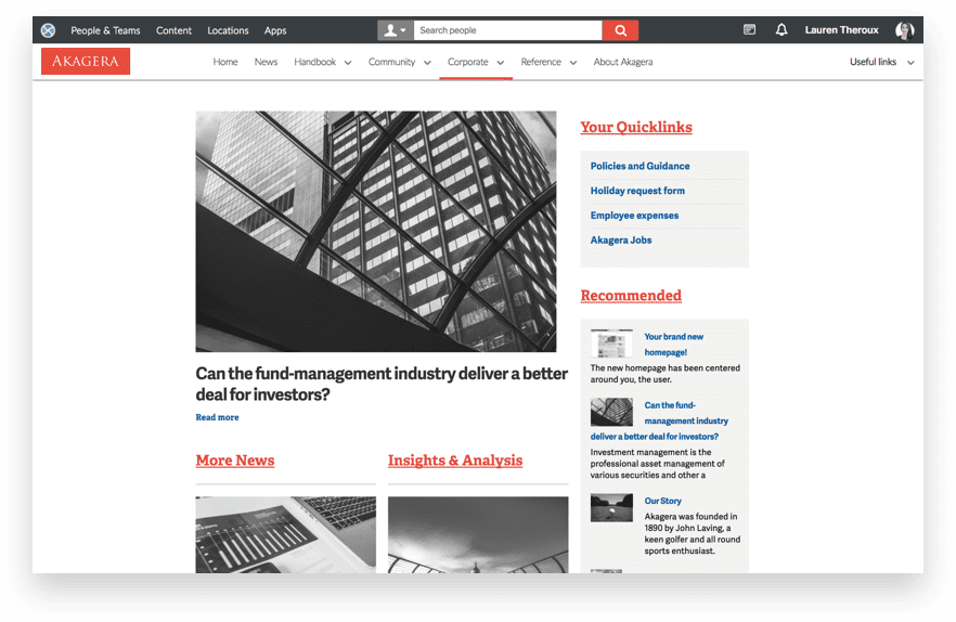 News homepage sample layout