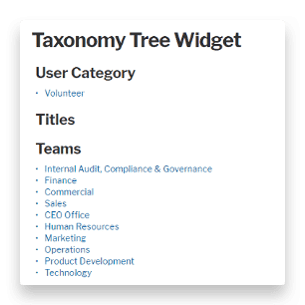 Taxonomy tree widget showing user categoriy, titles and teams
