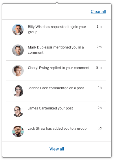 Notifications menu with new view all option