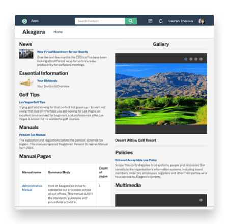 Homepage with news and gallery intranet and portal publishing options