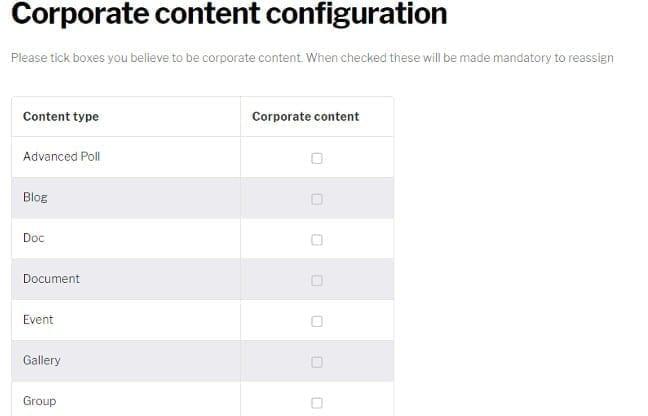Corporate content configuration page
