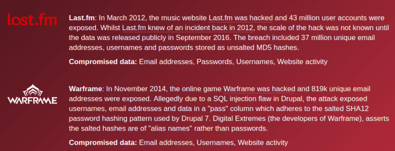 list and description of author's compromised sites