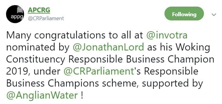 Tweet from APCRG reading Many congratulations to all at @Invotra nominated by @JonathanLord as his Woking Constituency Responsible Business Champion 2019, under @CRParliament's Responsible Business Champions scheme, supported by @Anglian Water!