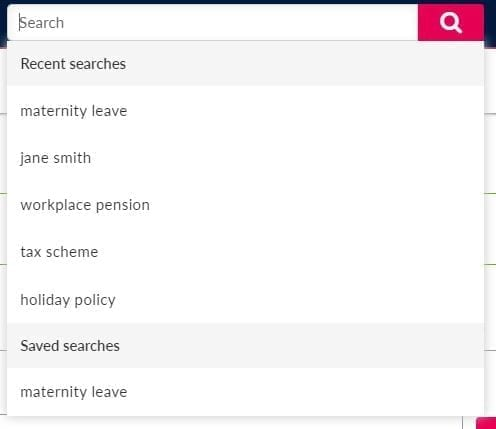 Search field displaying drop down options of recent searches
