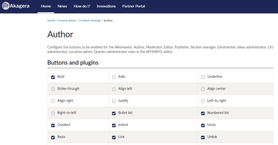 WYSIWYG options for the author role in Invotra admin