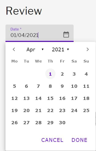 Date selector for review date