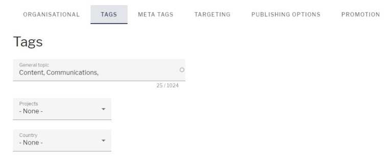 Publishing options with tags selected and general topic, projects and country fields shown