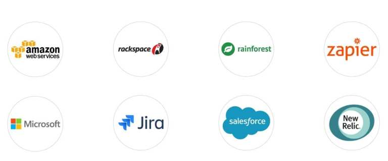 Logos of our partners AWS, rackspace, rainforest, zapiermicrosoft, jira, salesforce and new relic