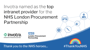 Invotra named as the top intranet provider for the NHS London Procurement Partnership announcement with Thank you to the NHS heroes message