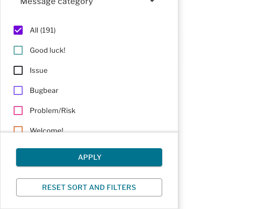 Filter drawer containing message categories and apply and reset buttons