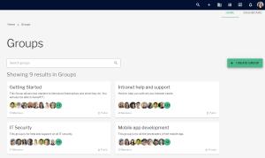 Groups landing page