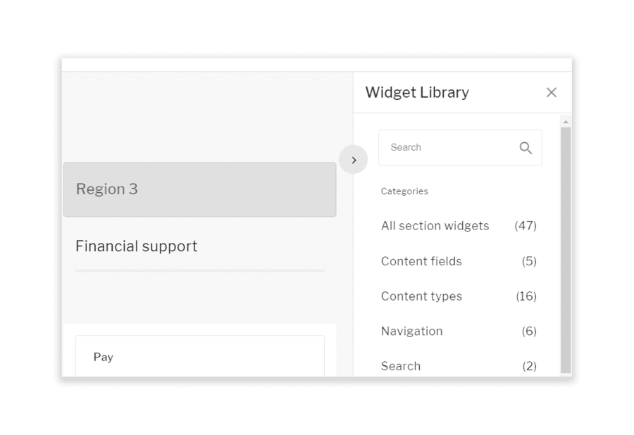 COntent management sidebars, showing widget categories available