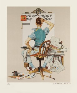 """Deadline"", lithograph by Norman Rockwell. Printed by me at Atelier Ettinger, 1977."