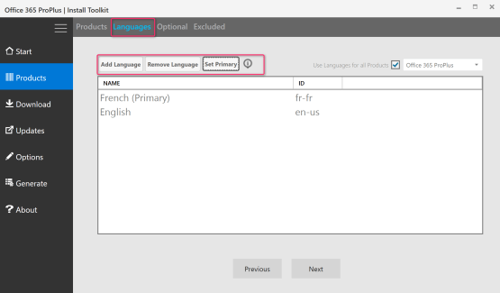 Select language pack for Office