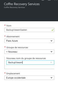 Configure coffre for Backup