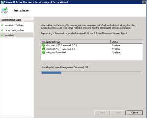 Installation for backup is lauched