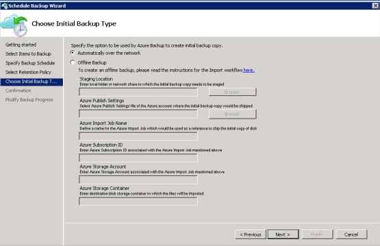 Configure initial backup file on azure