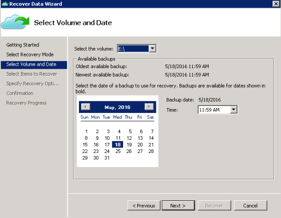 Select volume data from azure backup file