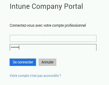 Enter credential for company portal