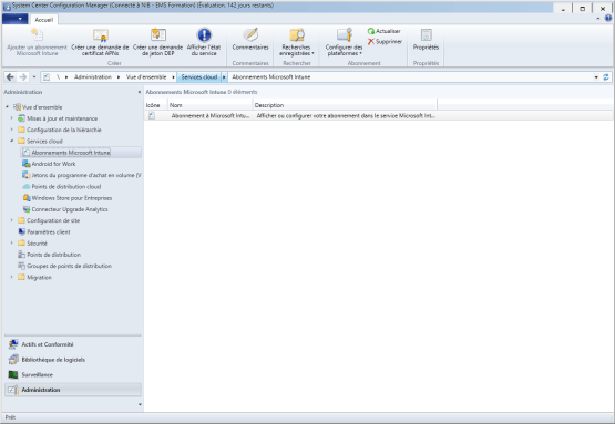Select subsciption for reset intune