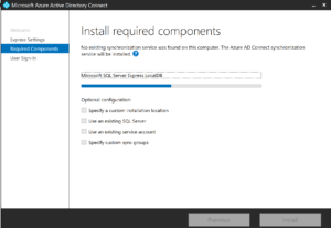 Installation of Azure AD Connect