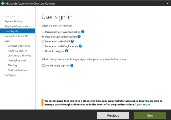Select Option Azure AD Connect