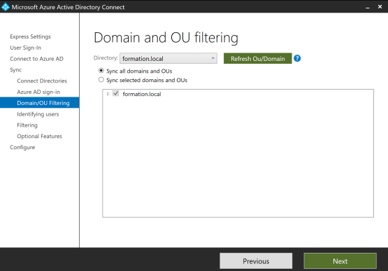 Choose OU domain for Configure Pass-through Authentication