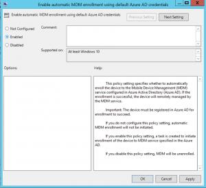 Activate Enable automatic MDM enrollment using default Azure AD credentials  Windows 10 Auto-enrollment