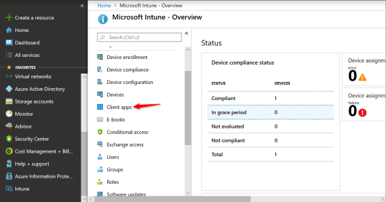 Access to the client apps menu into intune portal