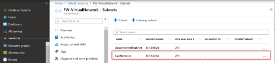 Add Subnet on Virtual Network for azure firewall